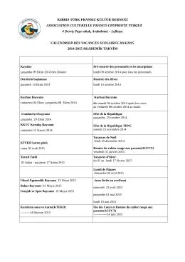 Calendrier Scolaire (pdf) - Kıbrıs Türk Fransız Kültür Derneği