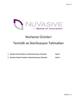 NuVasive Ürünleri Temizlik ve Sterilizasyon