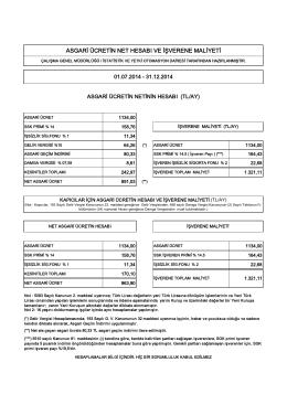 2014 – ikinci altı ay asgari ücret maliyet