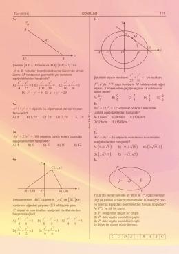 10 AB birim = 2 3 MA MB = 1 4 25 x y + = B) 1 100 36 x y + = C) 1 16