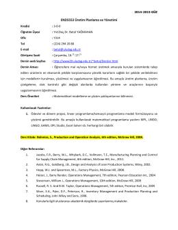 END5553 Üretim Planlama ve Yönetimi