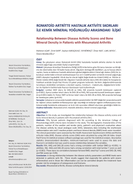 romatoid artritte hastalık aktivite skorları ile kemik