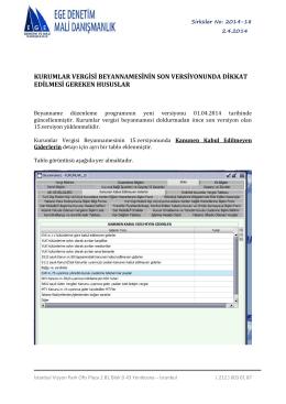 kurumlar vergisi beyannamesinin son versiyonunda dikkat edilmesi