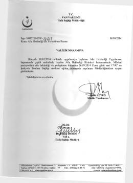 T.C. VAN VALİLİĞİ Halk Sağlığı Müdürlüğü Sayı: 10912266-020/ -jU