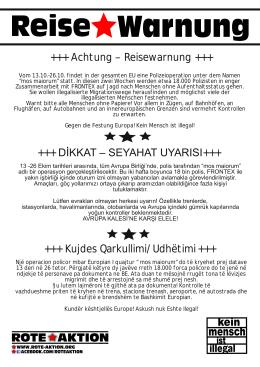 +++ Achtung – Reisewarnung +++ +++ Kujdes