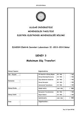 3. Deney - Elektrik-Elektronik Mühendisliği Bölümü