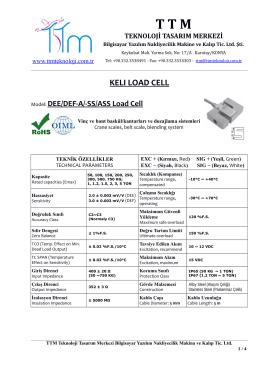 KELI DEE-A LOAD CELL - TTM Teknoloji Tasarım Merkezi
