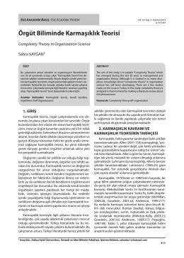 Örgüt Biliminde Karmaşıklık Teorisi