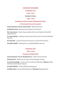 CONFERENCE PROGRAMME 4 September 2014 10:00 – 12:00