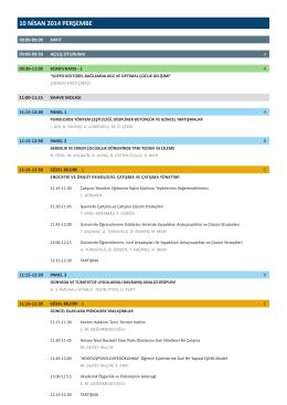 10 NİSAN 2014 PERŞEMBE - 18. Ulusal Psikoloji Kongresi