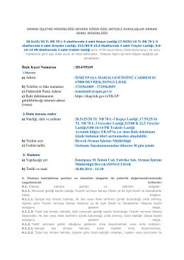 Devrek-Lastik Alımı - Orman Genel Müdürlüğü