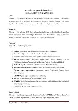Bezmiâlem Vakıf Üniversitesi Burs Yönergesi