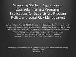 Assessing Student Dispositions - Ohio Association for Counselor