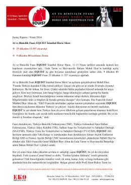 Sonuç Raporu / Nisan 2014 At ve Binicilik Fuarı EQUIST İstanbul