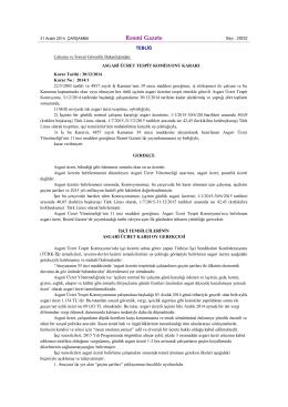 Asgari Ücret Tespit Komisyonu Kararı