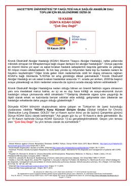19 Kasım Dünya KOAH Günü - Hacettepe Üniversitesi Tıp Fakültesi