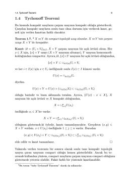 1.4 Tychonoff Teoremi