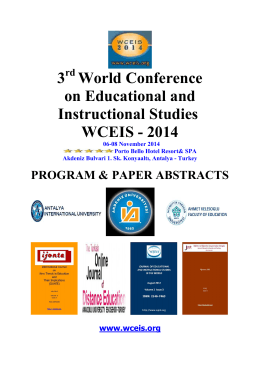3 World Conference on Educational and Instructional Studies