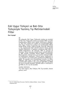 Eski Uygur Türkçesi ve Batı Orta Türkçesiyle Yazılmış Tıp