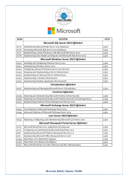 Microsoft SQL Server 2012 Eğitimleri Microsoft Windows Server