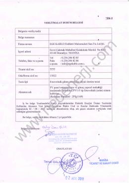 Yerli imalat durum belgesi