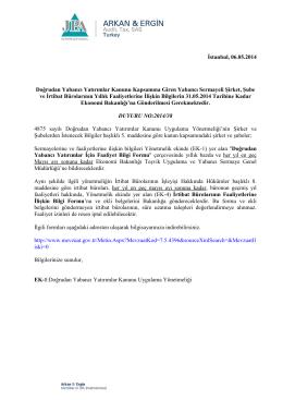 2014-38 Doğrudan Yabancı Yatırımlar Kanunu Kapsamına Giren
