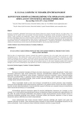"""Sağlam, B.B. ve Esmer, S. (2013) """"Konteyner Terminali Projelerinde"""