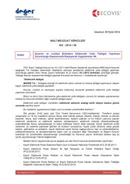 2014-58 Anonim ve Limited Şirketlwere Elektronik Yolla Tebligat