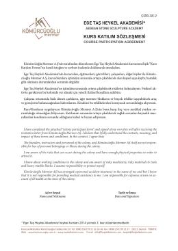 Ege Taş Heykel Akademisi Katılım Sözleşmesi