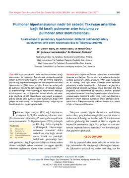 Takayasu arteritine bağlı iki taraflı pulmoner arter tutulumu ve