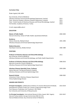 Curriculum Vitae Önder Ergönül, MD, MPH Koç University, School of