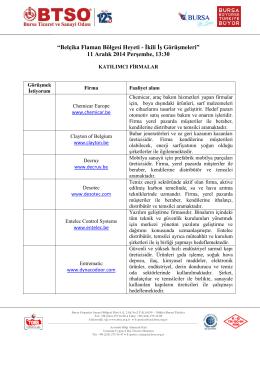 Ek:1. Katılımcı Firmalar - Bursa Ticaret ve Sanayi Odası