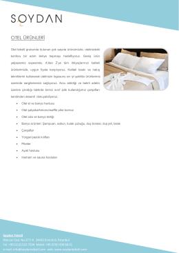 Otel Ürün Kataloğumuz ve Fiyat Listemiz İçin Lütfen