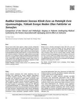 Radikal Sistektomi Sonrası Klinik Evre ve Patolojik Evre