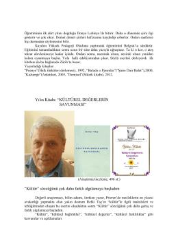 """Yılın Kitabı: """"KÜLTÜREL DEĞERLER N SAVUNMASI"""" """"Kültür"""