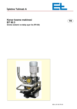 İşletme Talimatı A TR Kenar kesme makinesi BT 80.3