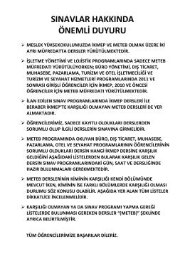 2014-2015 Akademik Yılı GÜZ Dönemi İKMEP ve METEP