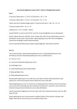 Gayrimenkul Değerleme Esasları 2014 1. Dönem A kitapçığı Hatalı