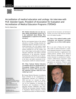 Accreditation of medical education and urology: An interview with