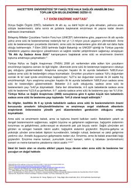 1-7 ekim emzirme haftası - Hacettepe Üniversitesi Tıp Fakültesi Halk