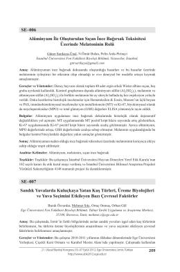 SE–006 Alüminyum İle Oluşturulan Sıçan İnce Bağırsak Toksisitesi