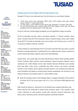 Shanghai Deneysel Serbest Bölgesi (SH FTZ) Değerlendirme Notu