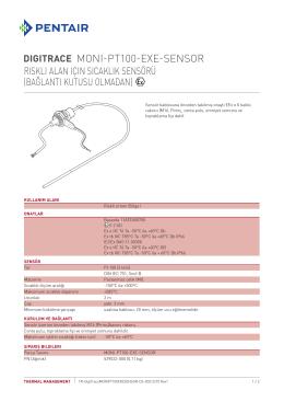 Riskli Alan için Sıcaklık Sensörü (Bağlantı kutusu olmadan)