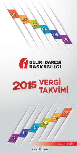 2015 Vergi Takvimi - Gelir İdaresi Başkanlığı