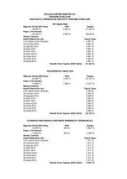 10,00% Öğrenim Ücreti KDV Hariç KDV Toplam 38.059 TL 3.045 TL
