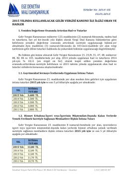 2015 yılında kullanılacak gelir vergisi oranları ve tutarları