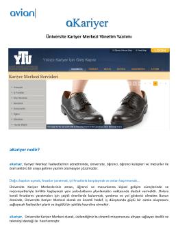 Üniversite Kariyer Merkezi Yönetim Yazılımı aKariyer