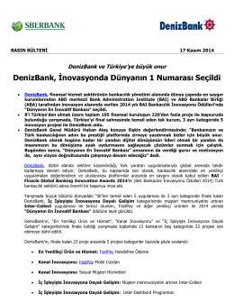 DenizBank, İnovasyonda Dünyanın 1 Numarası Seçildi