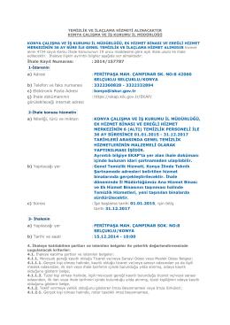 İhale Kayıt Numarası : 2014/157787 a) Adresi : FERİTPAŞA MAH