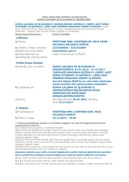 İhale Kayıt Numarası : 2014/157950 a) Adresi : FERİTPAŞA MAH
